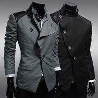 Men's Blazer leisure fashion Cool Slim Sexy Casual Blazer Suit Top Single Breasted Jacket black /grey M-XXL free shipping 9617