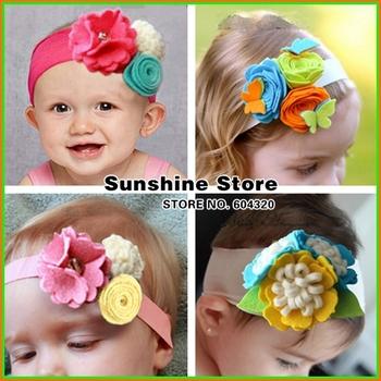 Sunshine store #2B1992  10 pcs/lot (18 styles) baby headband Triple felt flower Headband pearl butterfly headwear rosette CPAM