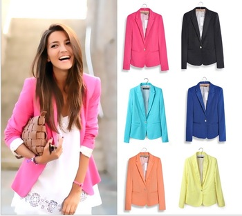 2015 spring new women fashion high quality candy color casual one button blazer slim lady's suits jackets WX