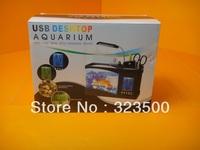 Fashionable Mini USB Fish Aquarium with Running Water + Pen Holder + LCD Calendar +Time Alarm