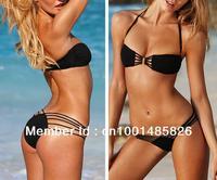 Free shipping 2Pcs Hot Sale Sexy Strap Halter Padded Bikini Swimwear Swimsuit /Beachwear /Clubwear Black T72 S M L /US 4 6 8