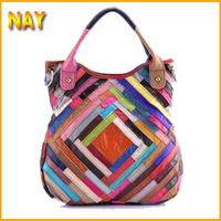 2015 Women Leather Patchwork Desigual Bag Lambskin Genuine Leather Handbags Rhombus Free Shipping Fashion Bags Ladies