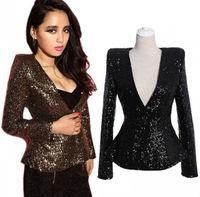 2014 New V Neck Power Shoulder Luxury Sparkle Sequins Fitted Tuxedo Flared Blazer Suit Jacket Slim Coat Wholesale