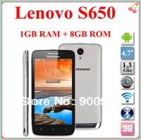 Original Lenovo S650 VIBE cellphone MTK6582 Quad Core Android4.2 phones 1.3GHz Android 4.2 3G/WCDMA GPS 1GB RAM 8GB ROM In stock