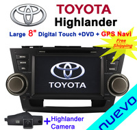 "Russia EMS Free Shipping:8"" Toyota Highlander Car DVD Player with GPS TV Bluetooth USB iPod Radio+Camera back"