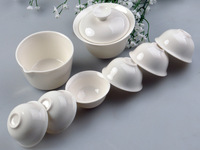 Travel tea pure white  portable  tea set ceramic kung fu tea sets gaiwan and bag   free shipping