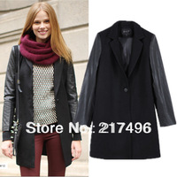Free shipping wholesale Autumn winter Black women Faux Leather sleeve patchwork woolen overcoat long one button coat jacket