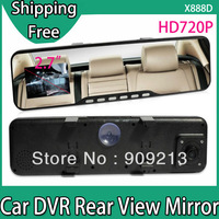 "Super-View X888D Car DVR Camera Rear View Mirror + HD 1280x720P + G-Sensor + 2.7"" Screen + 140 degree Angle + Night Vision"