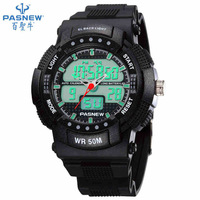 Wholesale TOP quality PASNEW 50M Waterproof Dual Time Boys Men Sport Watch PSE-361