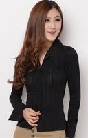 wholesale 4pces summer spring  black white women female ladies slimming fit elegant long sleeve OL shirt blouse cloth top WM3105