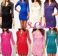 2013 fashion women lace slim V-neck 3/4 sleeve dress sexy tops for women black white color  free shipping WQL095