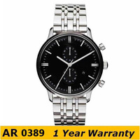 watches men luxury brand AR0389 Classic Quartz Stainless Steel mens Watch  + Free Shipping DHL