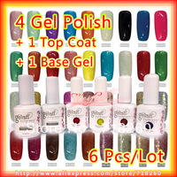 6Pcs/Lot Soak off UV Gel Set, 1Pc Foundation/Base Coat + 1Pc Sealer/Top Coat + 4Pcs UV Gel Nail Polish Available In 204 Colors