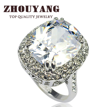 ZYR080 Big Four Claw Real Platinum Plated Princess Cut Zircon Wedding Ring Made with Genuine Austrian Crystals Wholesale