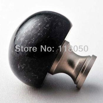 Novelty Furniture Hardware,Black Granite Kitchen Cupboard and Cabinet Door Knob,Fancy Stone Brass Dresser Knobs and Handles