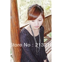 2012 Women's T Shirt  Ladies long Necklace Stands Necklace /Glass crystal beads/ Glass measle