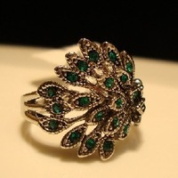 2014 New Fashion Jewelry Vintage Antique Silver Peacock Feather Rings For Women Gift Free Shipping
