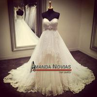Amanda Novias High-end Quality High Waist Puffy Lace Wedding Dress 2015 R416