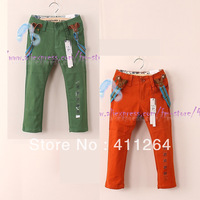 5pcs/lot(2-8Y) children clothes kids leisure trousers with suspenders casual pants with braces for boys pants Free shipping