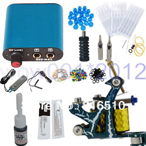 Complete Starter Beginner Tattoo Kit Machine Gun Color Ink Power Supply Needles Set