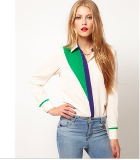 New Fashion Shirt Women Long Sleeve Lapel Collar Blouse Chiffon Color Block Women Shirts 8737SX