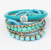 Min. order is $10(mix) beads bracelet for women 2014 new fashion multi layer bracelet wholesale jewelry