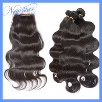 6A new star virgin brazilian body wave hair extension mixed length with closure bleached knots 4*4 free style DHL free shipping