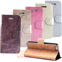 For iPhone 5 Case Lightning Design PU Leather Mobile Phone Stand Cover Free Screen & Stylus Free Shipping 7 Colors E218