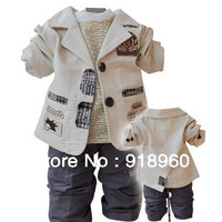 freeshipping 2013Spring Fashion New arrival children's Clothing Sets linen Casual suit+T-shirt+trousers baby boy/kid three piece