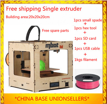Free Shipping 3D Printer single head 20x20x20cm building area  open source MakerBot Replicator extruder machine+1 KGS ABS/PLA