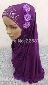 Popular Fashion Three Flowers Rhinestone Design Muslim Convenience Hijab,Islamic Shawl,Arabic Scarf,Cheap Price Free Shipping