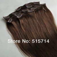 Hot product!!100% real human hair extensions,4#,medium brown..full head,7pcs 70g with clips,clips in on human hair extension,