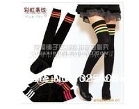 Factory Price 50 Pcs/Lot  Free shpping New Over The Knee Socks WOMEN 2 Tone/Color Thigh High Cotton Socks Thinner 7 Colors