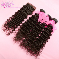Grade 5A,Free shipping!1 Piece Lace Top Closure with 3Pcs Hair Bundle,4pcs/lot,Brazilian Virgin Remy Hair Extension,Deep Curly