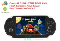 video games console 5 inch Capacitive Touch screen Cortex A9 1.2G 512MB+4GB hdmi Android4.1 Wifi Game Console