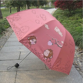 Cartoon patter umbrella elargol coating monkey three folding sunshade rain or sun protection kid's umbrella Free shipping!