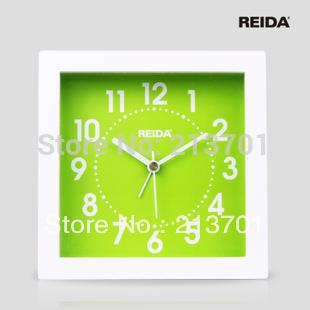REIDA Novelty Design Fashion Square Wooden Alarm Clock Modern Design Lovely Unique Wood Desk Table Clock Home Decoration