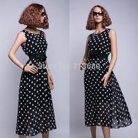 Free shipping 2014 hot selling chiffon dress long tank dress black color white dot dresses chiffon free with belt long dress