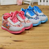 2014 New Spring Summer Children's Sport Sneakers For Kids Girl Flower Brand Designer Lace Shoe Kid Sports Sneaker Girls Shoes