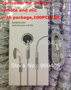 Handsfree Earphone Contorl Volume For IPhone 4GS IPod Microphone Mic Headphone Headset White with retail paper box package