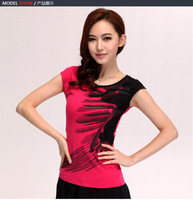 New 2013 best design Free shipping women's short sleeve T-shirt tshirts Embroidery 3D feather line K0037