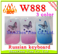 HOT Russian keyboard! Cheapest Flip Lady Phone W888 with Butterfly LED Music Light Camera Dual Sim girl Phone