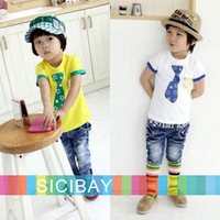 2013 Summer New Fashion Fake Tie Star design Tshirt Boys clothes Baby child cheap Kids Cool t-shirts K0199