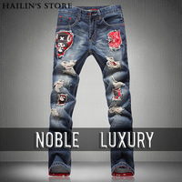 New 2014 Men's luxury Slim hole washed jeans spring and summer fashion comfortable Printed straight jeans men 2 Style