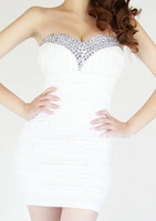 Hot sale 2013 Spring Strapless Crystal  Sexy Woman Evening Dress 6 Colors Blue Red White Black Pink Rosy Sexy dress DK306132