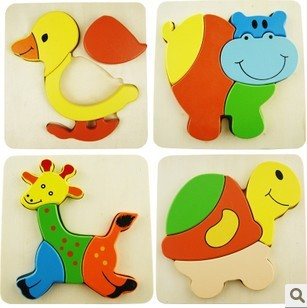 Free shiping!!Wholesale Wooden toys Colourful Cartoon Animal Puzzle Educational Baby Puzzzle Acknowledge Puzzle Children Toys(China (Mainland))
