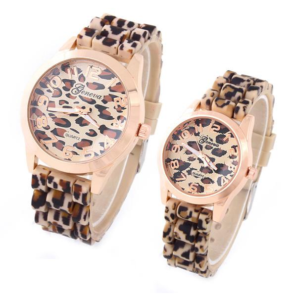 Geneva Fashion Casual Watch Leopard gold color Rubber Band Women Wristwatches Analog Ladies Quartz watch dropship(China (Mainland))