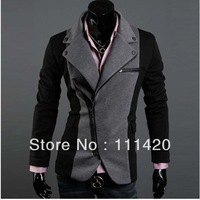 Men's Cool Slim Sexy Casual Blazer Leisure Suit Top Zip Jacket Black Grey Crazy Sale Men's High Class Fabrics Sport Blazers