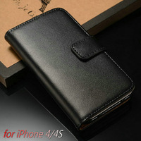 Genuine Leather Wallet Case for iphone 4 4S Flip with Stand Card Holder New 2014 2 styles Muti Colors