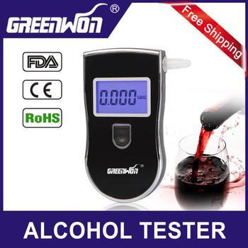 Crazy Promotion 60PCS new patent portable digital mini breath alcohol tester wholesales a breathalyzer test with 5 mouthpiece